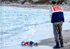 The famous image of three-year old Aylan Kurdi lying dead on a Turkish beach, provoking an international outcry about the inhumanity of the Syrian conflict