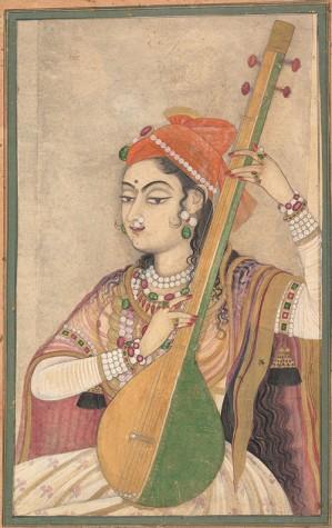 A Lady Playing the Tanpuraca