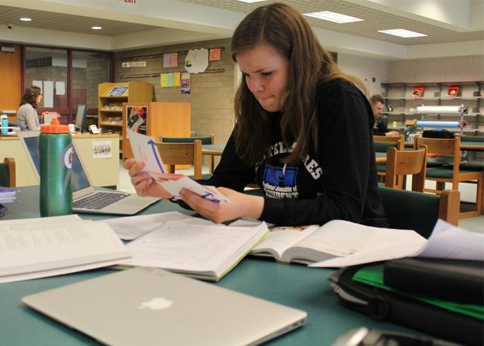 Kali Killmer studies all her material meticulously in the library for APUSH.