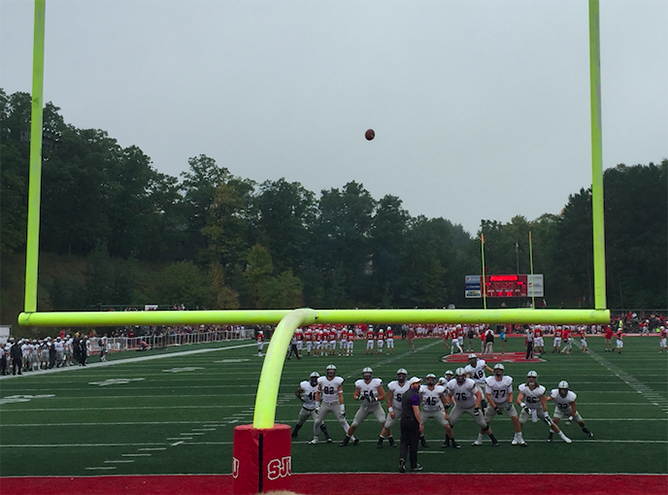St. Thomas practices field goals before the game starts.