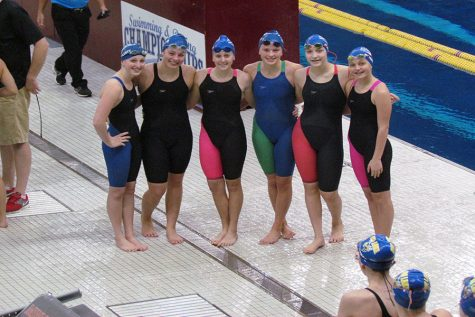 A few Sabre swimmers at the MN State Meet in 2015