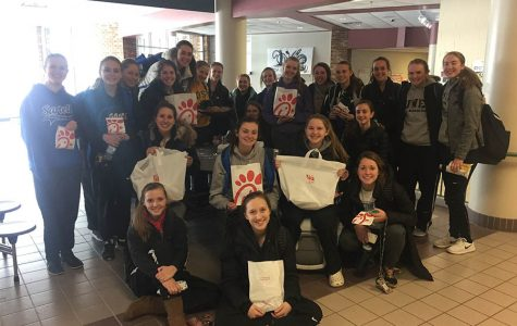 The Sartell Girl's Basketball team enjoys their Chick-fil-A after a morning practice.