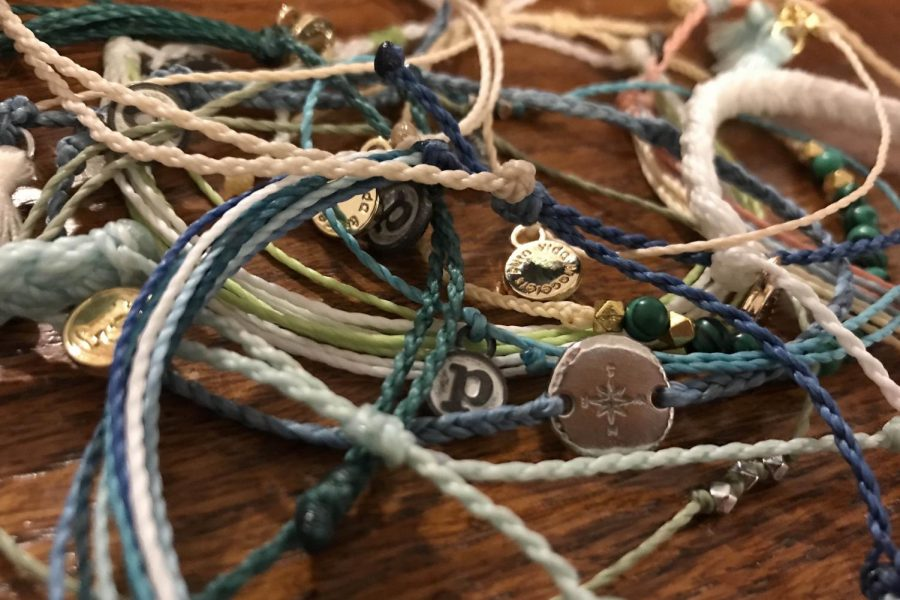A set of Pura Vida bracelets.