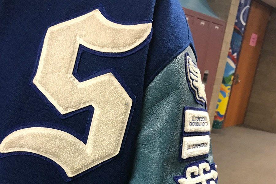 Sartell+Sabres+letterman+jacket.++