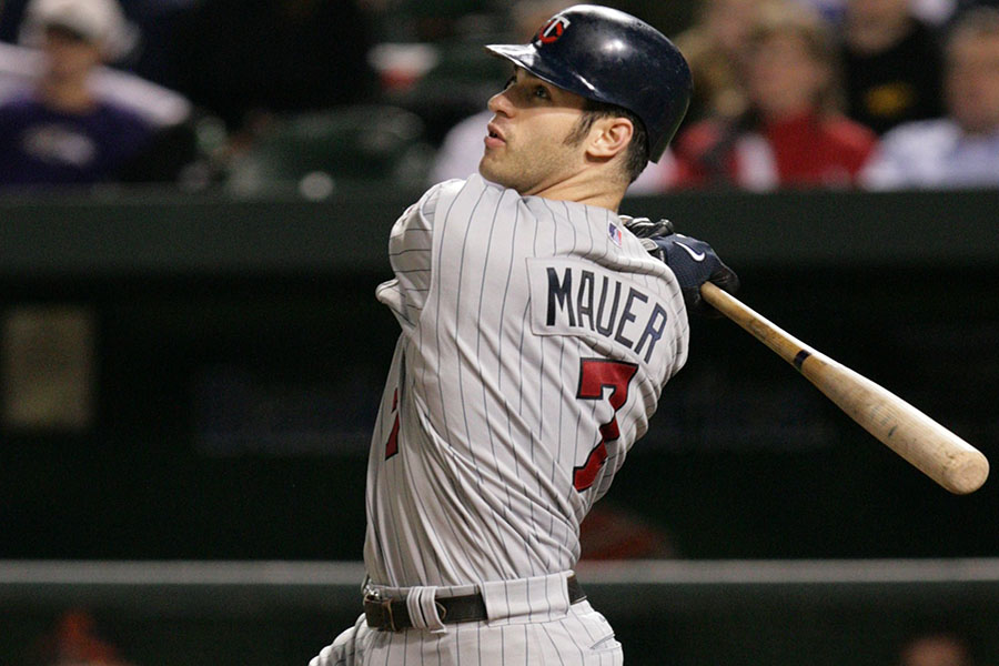 Joe Mauer at-bat at the Metrodome in Minnesota. Joe Mauer contemplated retirement after the end of the 2018 season.