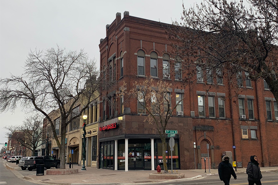 The former Big Apple Bagels sits empty in Downtown St. Cloud.