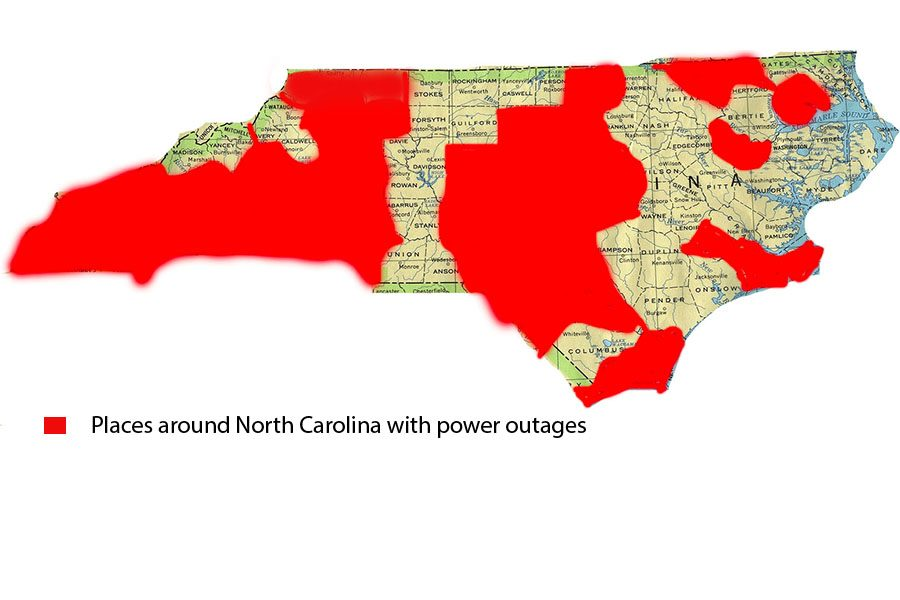 North Carolina map showing the power outages.