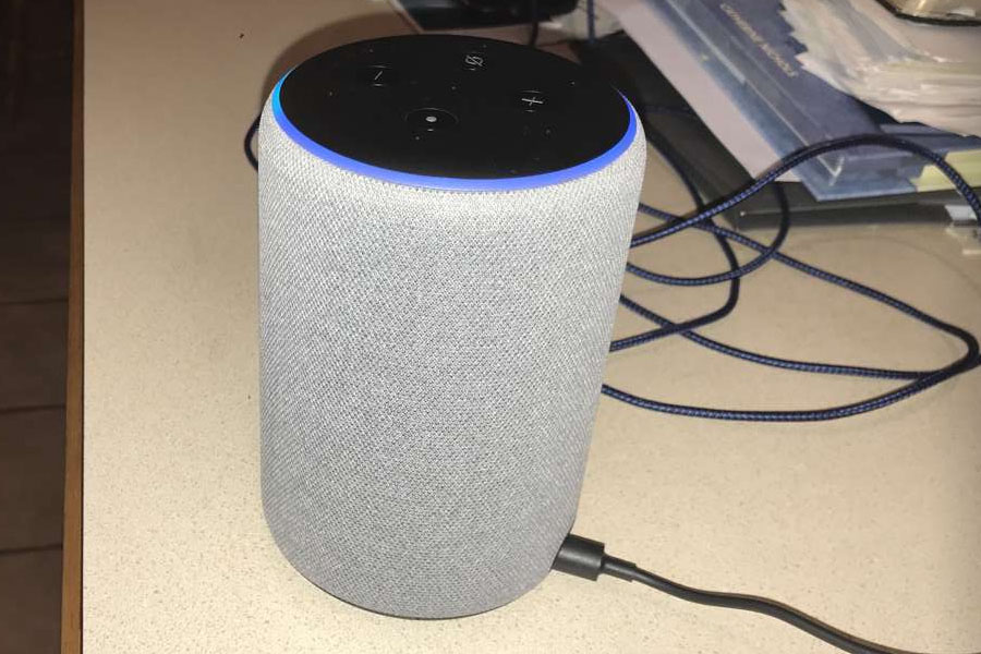 Alexa voice assistant pictured working.