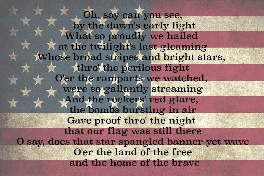 Star Spangled Banner lyrics.
