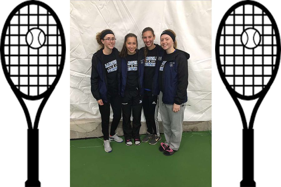 A small group of the girls tennis team (From left to right, Isabel Gugger, 12, Kellie Loscheider, 12, Maddie Goetz, 12, Maggie Kulus, 12)