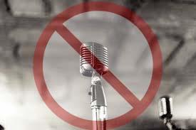 Original photo of a no mic symbol, anti hip hop and rap.
