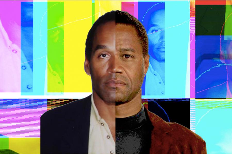 A photo of the man who played O.J. Simpson, Cuba Gooding Jr., and O.J. Simpson himself.