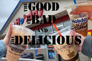 All three iced coffees tried and tasted with Holiday on top.