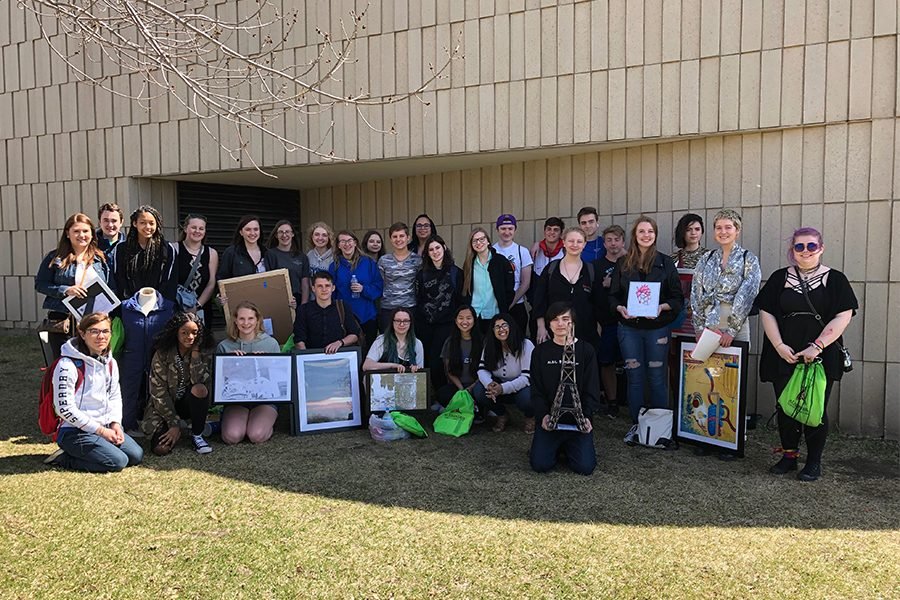 A group photo of the Sartell students who attended the MSHSL art competition.