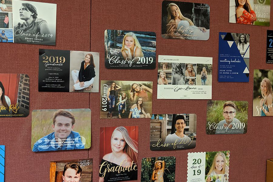 2019+seniors+and+their+grad+party+invites+hanging+on+Nelson%27s+wall.+Soon+they+will+all+be+enjoying+their+new+independence.