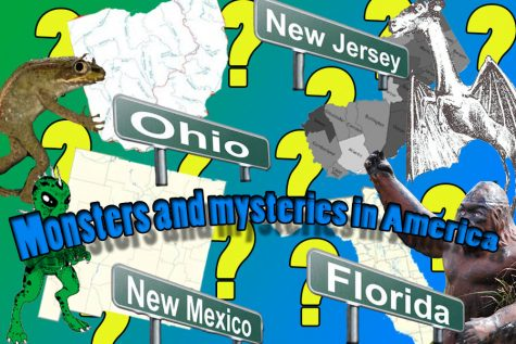 Monsters and mysteries in America pictured are the creatures detailed in the article