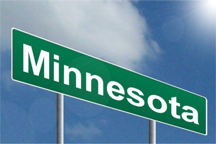 This is the sign of Minnesota on a highway. Minnesota is known for being