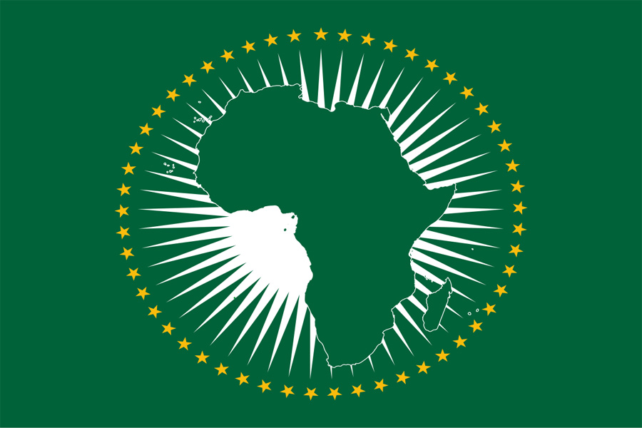The African Union (AU) flag. The AU furthers its plans of strengthening ties among its members.