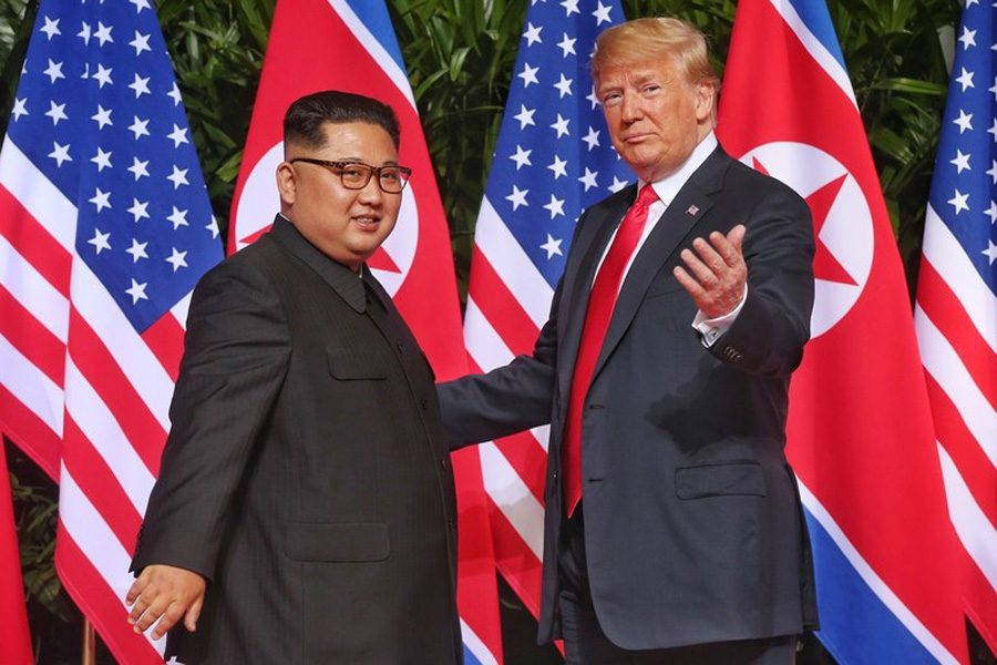 United+States+President+Trump+and+North+Korean+Supreme+Leader+Kim+Jong-un+meeting+for+negotiations.+