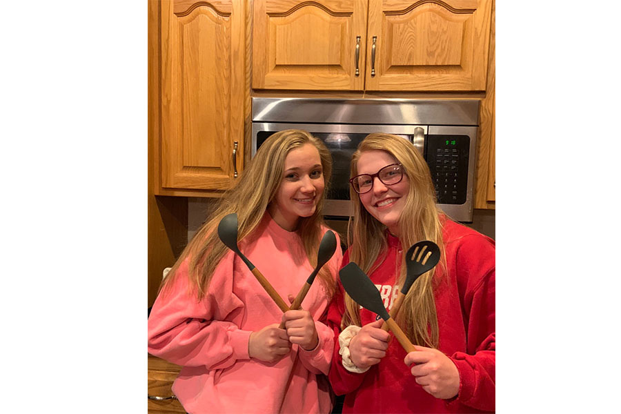 Kaitlin and Olivia ready to take on the bake off challenge.