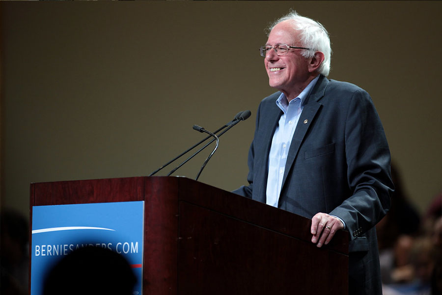 Bernie Sanders answering questions about what he plans and how everyone is part of the future.