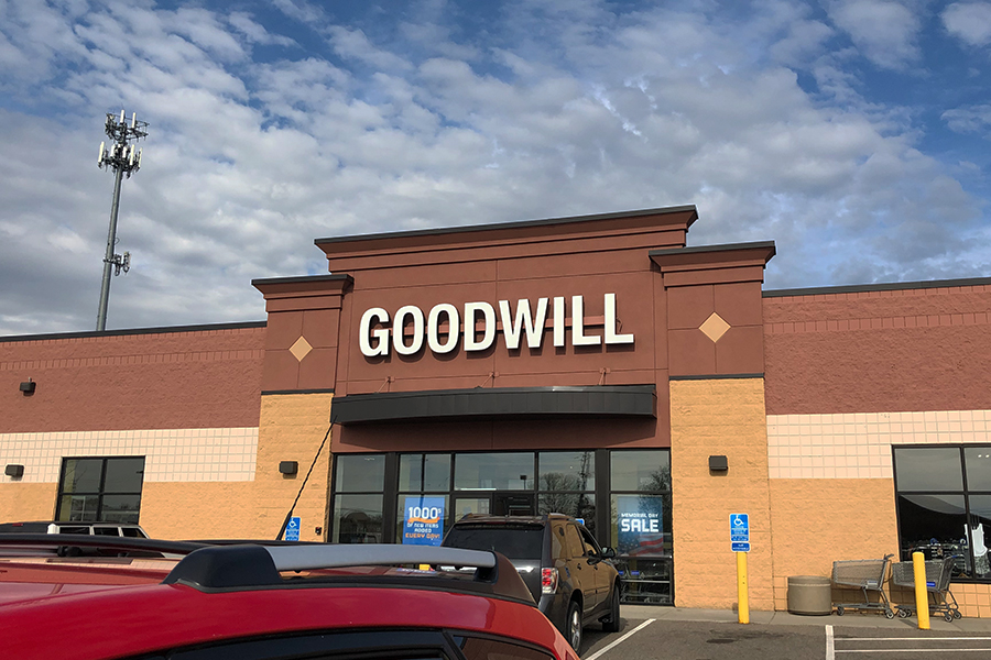 The front view of a local Goodwill thrift store in St. Cloud.