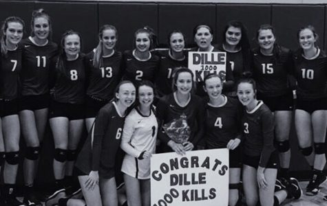 The Sartell Volleyball team congrats Elizabeth Dille on her 1000 career kills while on varsity