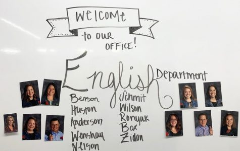 The english department displays their year book photos, including each English teacher at Sartell High School.