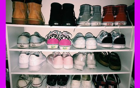 One rack of Hannah Bjelland's shoes set in her room.