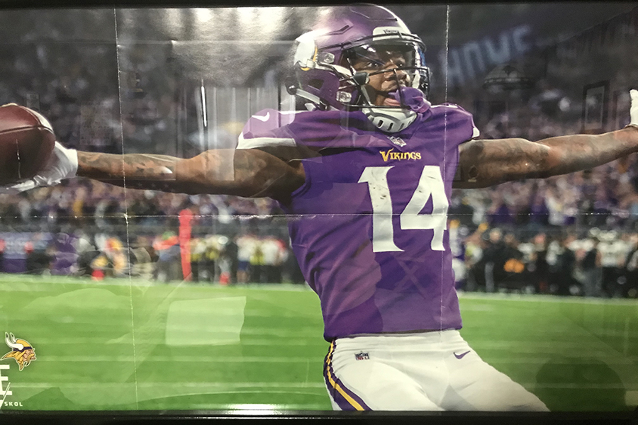 Stefon+Diggs+in+the+end+zone+after+scoring+a+walk+off+touchdown+against+the+New+Orleans+Saints+on+January+14th+2018.++This+is+a+picture+of+the+poster+that+hangs+in+my+room.+