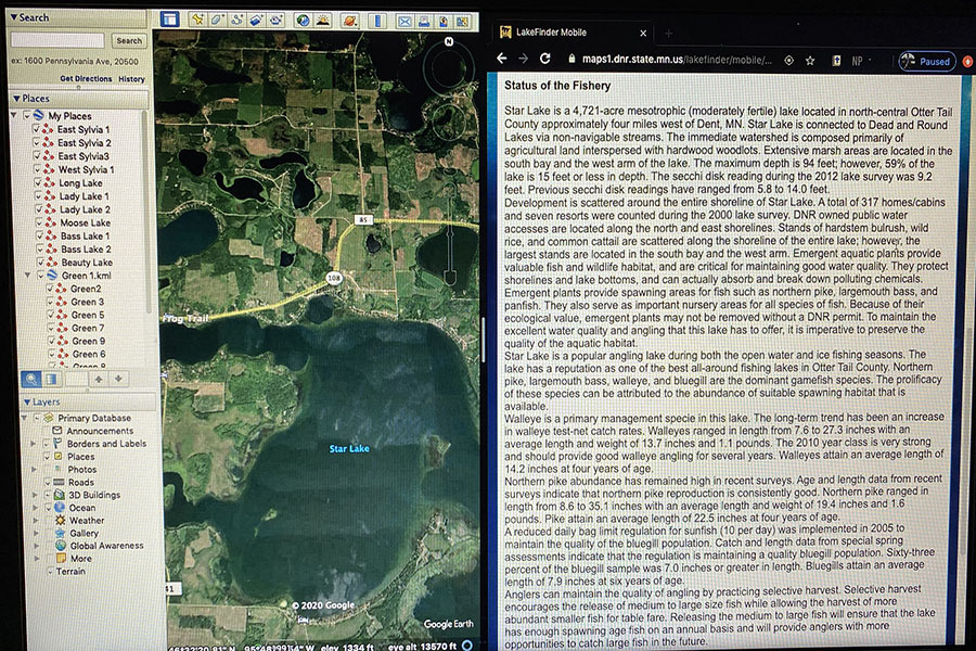 On+the+left+side+is+the+Google+Earth+Image+of+the+Lake%2C+the+right+side+is+from+the+Minnesota+DNR+lake+survey.