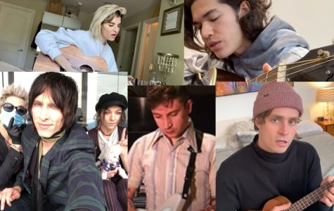 Artists all over are going live to perform for fans, in the comfort of their homes. In this picture Juliet Simms (top left), Conan Gray (top right), Palaye Royale, Tyler Joseph, and Spencer Sutherland (left to right).