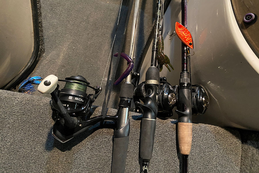 These+are+the+three+rods+I+would+bring%2C+the+left+one+is+for+the+finesse+baits%2C+the+middle+is+for+texas+rigs+and+jigs%2C+and+the+right+is+for+the+moving+baits