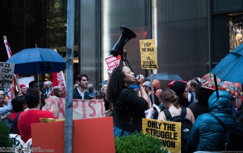 A Me Too protest in front of the Trump Tower.