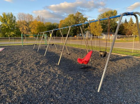 The swings sit still at Pleasant View Elementary.