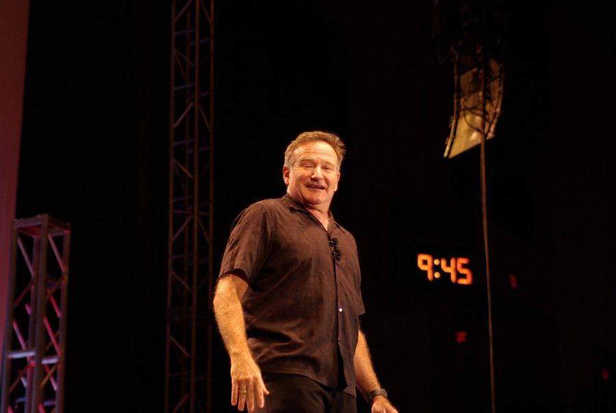 Robin Williams performing one of his beloved comedy shows.