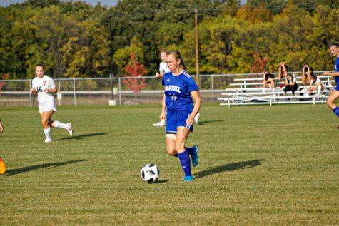 Sophie Speckhard dribbling the ball up in regular season game against Tech.