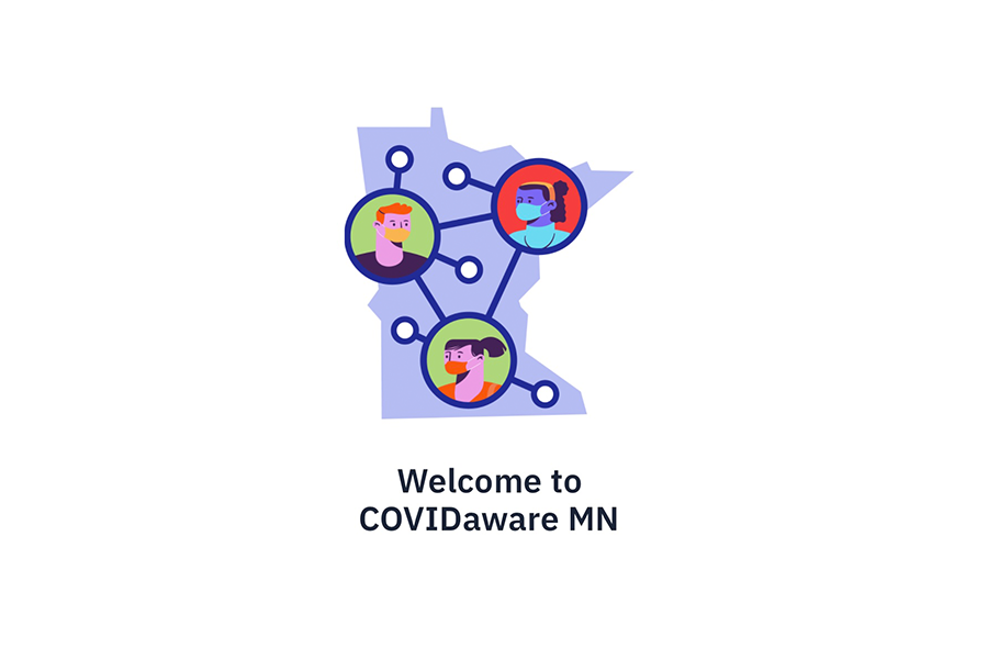 Home screen of the COVIDawareMN app that was released by Minnesota