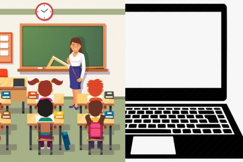 This picture show 50% of a classroom and 50% of a laptop to symbolize hybrid learning.