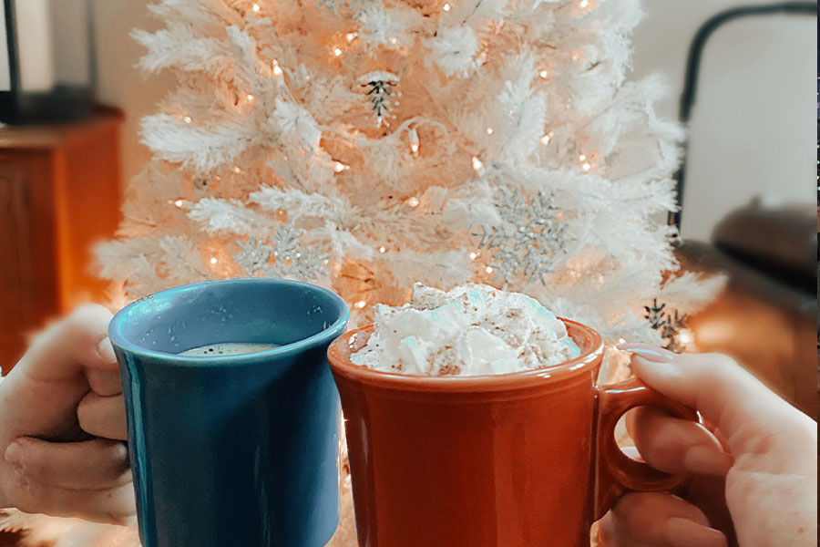 Holiday season calls for hot coffee cozied up by the Christmas tree.