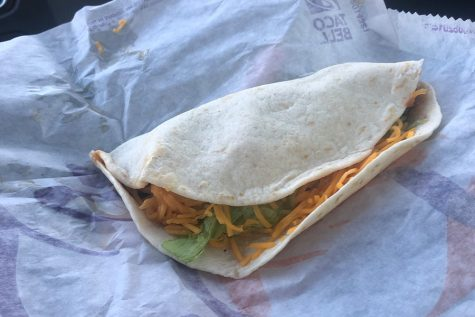 A soft shell beef taco from Taco Bell