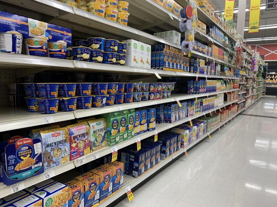 There is a wide variety of mac and cheese in this aisle at Coborns.