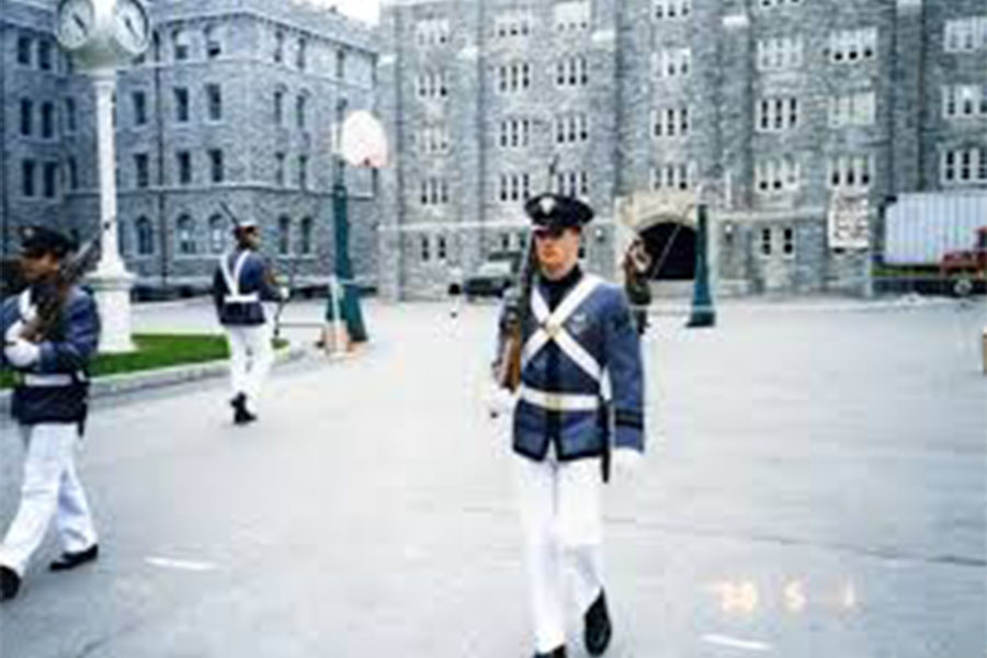 West Points Cadets stand guard on campus.