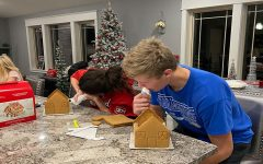 Creating gingerbread houses is really fun, but the best part is eating half of the decorations!