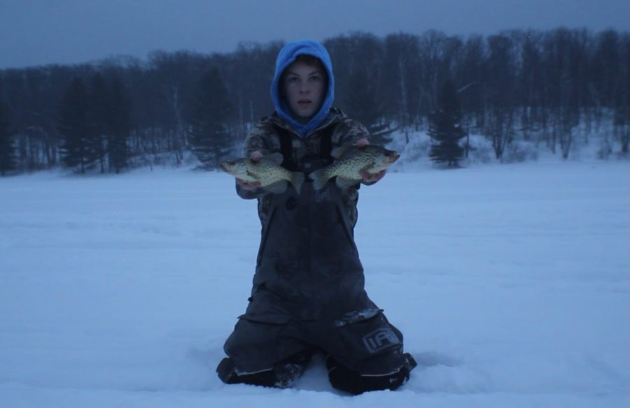 This picture is of me ice fishing.