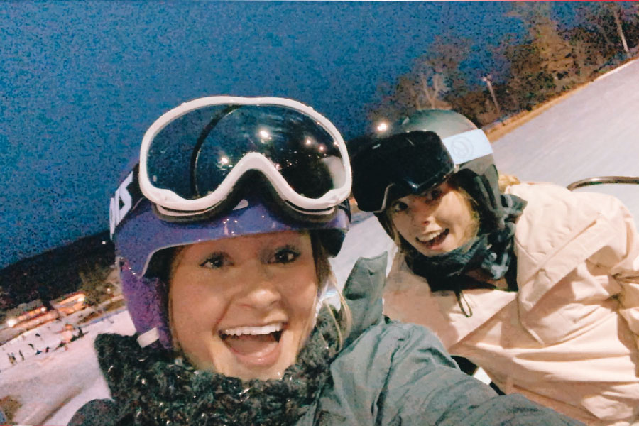 Juniors, Danielle Giguere and Alivia Jacobs enjoy an evening at local ski resort Powder Ridge.