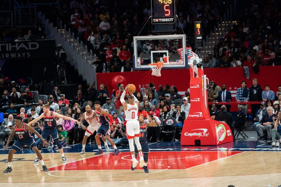 Westbrook shoots a three point shot against his current team, the Washington Wizards.