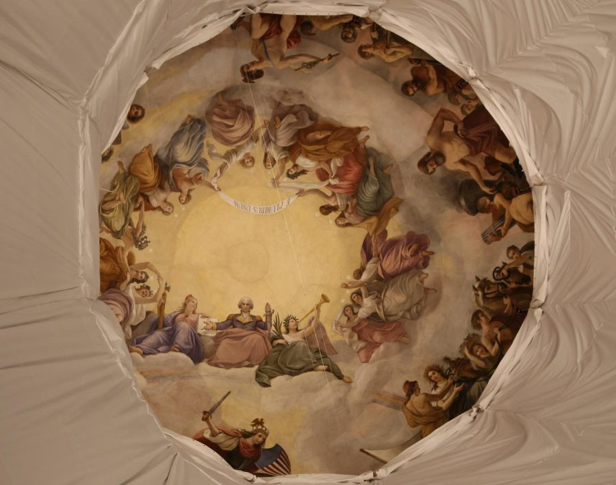 The Apotheosis of Washington, visible through the oculus of the United States Capitol dome.