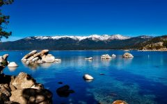 NHL hosts outdoor game on Lake Tahoe.