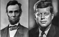 A side by side of former presidents Lincoln and Kennedy.